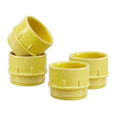 Pipe Ceramic Espresso/Condiment Cups, Yellow, Set of 4
