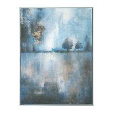 Modern Blue Gray Lake Trees Wall Art, Framed Painting