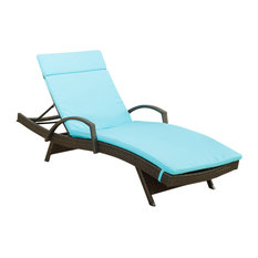 GDF Studio Ann Outdoor Wicker Adjustable Chaise Lounge, Arms With Cushion, Blue