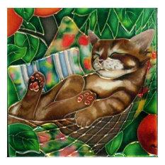 Sleeping Cat in Hammock Tile