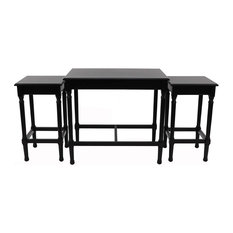3 Piece Set Nesting Console Tables MDF Construction With Wood Veneer Black