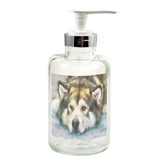 Alaskan Malamute, Eyak, Glass Soap/Lotion Dispenser
