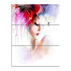 """Fashion Woman Illustration"" Digital Canvas Art Print, 3 Panels, 28""x36"""