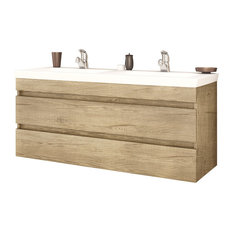 "DP Wall Bath Vanity Cabinet Set 47.2"" Double Sink With Laminated PL Wood Finish"