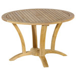 Classic Teak - Deluxe Round Table - Our deluxe series is one of the finest round table machine made with A grade teak. Its bolder design with curved legs makes it the best choice for your cabin in Tahoe, or areas with high wind, high use areas such as restaurant outdoor seating/waiting spots, or even for a European styled living room. Our deluxe round table set comes in three size. Use any four chair to make custom set for perfect dining set for family.