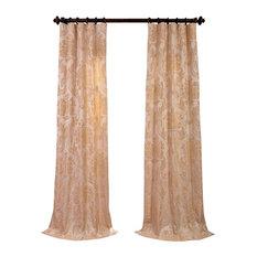 "Magdelena Champagne FauxSilk Jacquard Curtain Single Panel, 50""x108"""