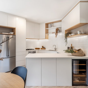 Minimalist White and Timber Contemporary Kitchen
