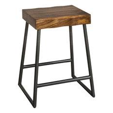 Hilale Furniture Emerson Manufactured Live Edge Square Non Swivel Backless Counter Stool Natura