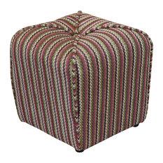 Seville Stripe Upholstered Ottoman Fuschia
