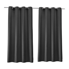 "Delano Indoor/Outdoor Grommet Top Curtain Panels, Set of 2, Charcoal, 54""x96"""