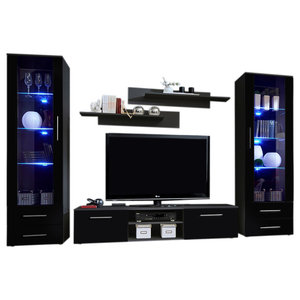SOHO 4-Piece Modern Wall Unit Set With 16 Colors LED Lights, Black