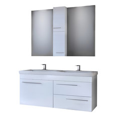 """DP Wall Bath Vanity Cabinet Set 47.2"""" Double Sink, White Gloss Lacquer Finish"""
