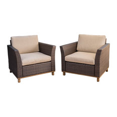 Grady Outdoor Aluminum Framed Mix Brown Wicker Club Chairs, Set of 2