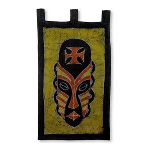 Gye Nyame Mask Cotton Batik Wall Hanging Tropical Tapestries By Novica