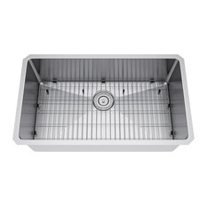 "29""x18"" Single Bowl Undermount Stainless Steel Kitchen Sink, With Strainer/Grid"