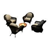Catalina 4 Piece Wicker Chat Set, Sable Wicker, Mushroom Cushions