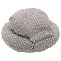 Travel Pillow Office Portable Napping Pillow Cervical Neck Pillow Gray Stripes