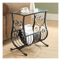 Monarch Metal Magazine Table In Satin Black With Tempered Glass