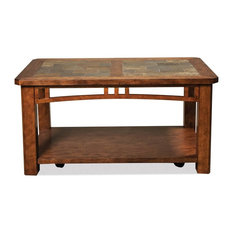Riverside Furniture   Cocktail Table With Natural Slate Inserts   Coffee  Tables