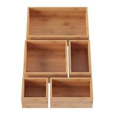 Lavish Home 5 Compartment Bamboo Modular Tray Drawer Divider
