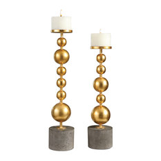 2-Piece Stacked Gold Spheres Pillar Candle Holder Set Midcentury Modern Metal Co