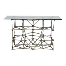 Worlds Away Silver Leaf Iron Console Table MOLECULE CONS54