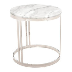 Nicola Round Side Table in White Marble and Polished Stainless Steel