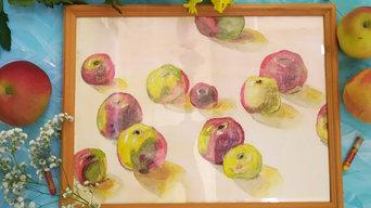 """Картина масляной пастелью """"Яблоки"""""""