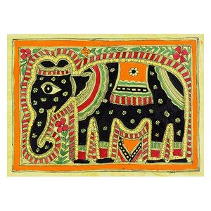 Majestic Elephant Madhubani Painting