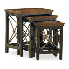 Nest of Three Tables With Medallion Motif