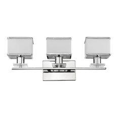 "Trilluminate 3-Light Chrome Finish White Opal Glass Bath Vanity Wall Fixture 24"""