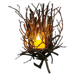 Wish Designs USA - Twig Wall Sconce With Pillar Candle - Our handcrafted twig wall sconces bring the outdoors in, while providing a warm glow where ever you need it.  These wall lights are handcrafted from real hickory branches. They look great in a hallway, powder room, or as accent lighting in a family room. The pillar candle features an elegant hand dipped electric bulb.
