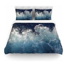 "Suzanne Carter ""Sea Spray"" Navy Ocean Featherweight Duvet Cover, 104""x88"""