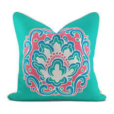 Medallion Blossom Jade Green Pillow Case