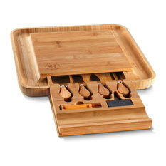 Belmint - Bambusi Bamboo Cheese Board & Cutlery Set w/ Slide Out Drawer 4 Stainless Knife - Cheese Boards and Platters