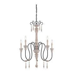 Savoy House Ashland 5-Light Chandelier, White Washed Driftwood