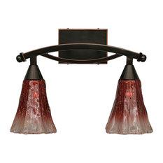 """Bow 2 Light Bath Bar, 5.5"""" Fluted Raspberry Crystal Glass"""