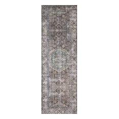 """Taupe Stone Blue Printed Polyester Layla LAY-06 Area Rug by Loloi II, 2'-6""""x7'-6"""