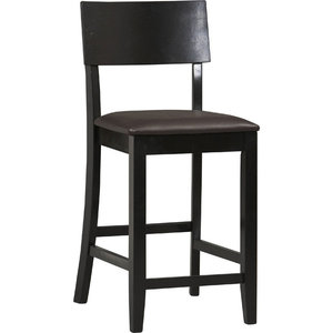 Rubberwood and Foam Bar Stool, Black