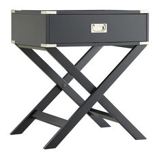 Alastair Wood Campaign Accent Table Nightstand, Black