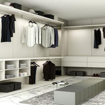 Fitted Walk in wardrobe in Light grey matt finish supplied by Inspired Elements