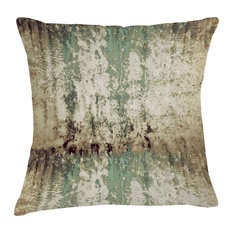 Mineral Velvet Cushion, Moss Green and Pale Brown