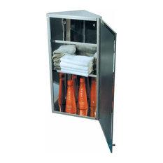 Polished Stainless Steel Corner Medicine Cabinet Mirror Door