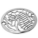 """Designer Drains - Sea Horse Shower Drain, Polished Stainless Steel, 4"""" - Polished Stainless Steel drain made to fit Oatey, Sioux Chief, frank Pattern, AB&A, Brass Tech and Mountain Plumbing drain roughs.  Measures 4"""" diameter and 3 3/8"""" from the center of one screw to the center of the other screw. Made in U.S.A. Please measure your existing drain carefully before ordering."""
