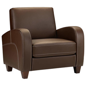 Armchair Upholstered, Chestnut Brown Faux Leather, Contemporary Design