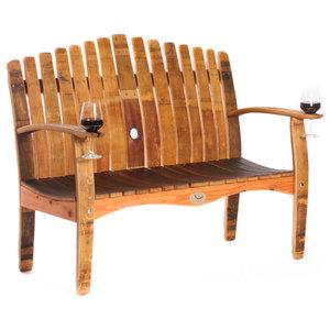 Wine Barrel Love Seat Bench