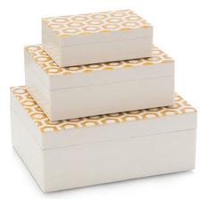 Boxes JOHN-RICHARD Amber Horn Cream Enamel