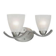 2 Light Bath Bracket, Brushed Nickel, Clear Outer & Sandblast Inner Glass