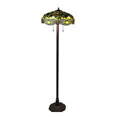 "Warehouse of Tiffany Verde Dragonfly 18"" Tiffany Style Floor Lamp"