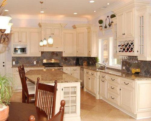 Antique White Kitchen Island Toffee Cabinets